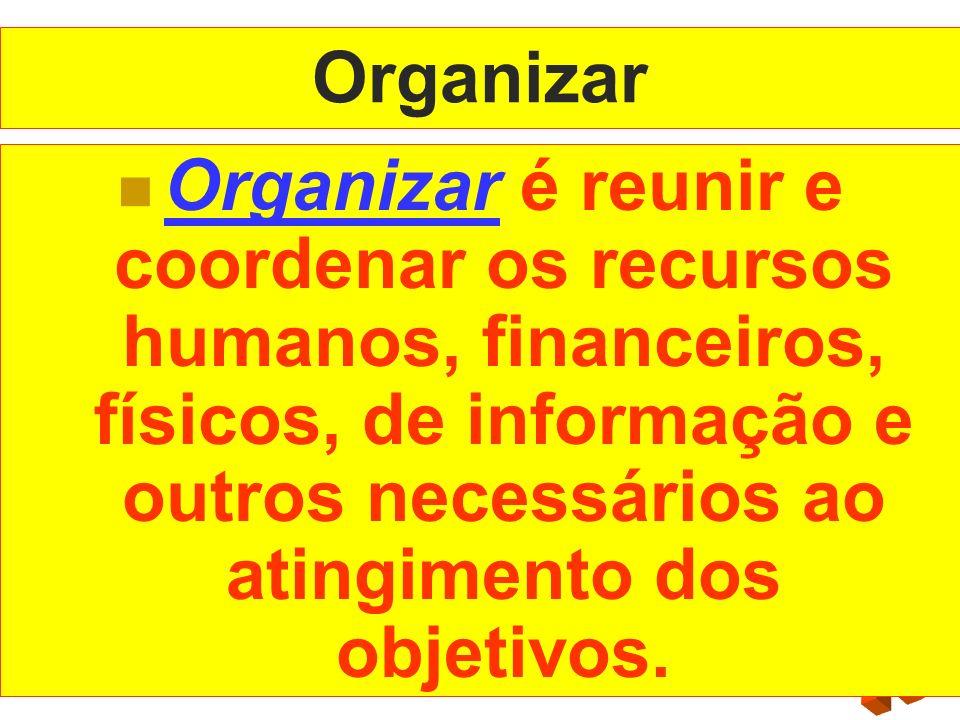 Organizar Organizar é reunir e coordenar os recursos humanos, financeiros, físicos, de informação e outros necessários ao atingimento dos objetivos.