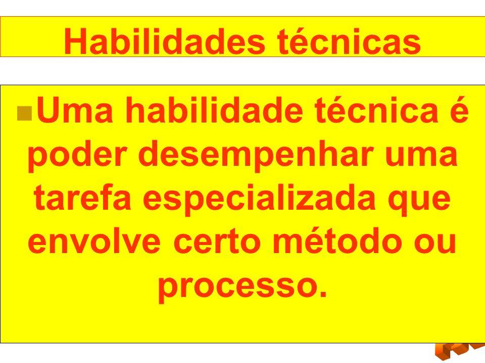 Habilidades técnicas Uma habilidade técnica é poder desempenhar uma tarefa especializada que envolve certo método ou processo.