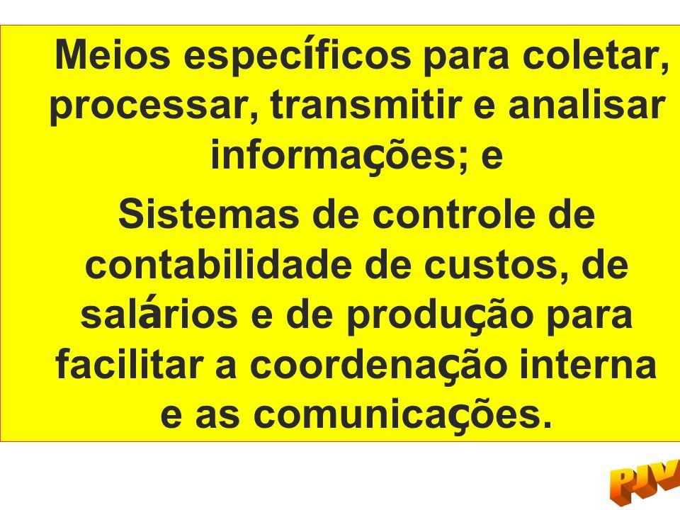 Meios específicos para coletar, processar, transmitir e analisar informações; e