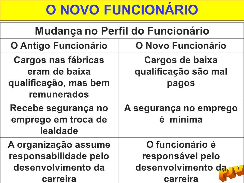 O NOVO FUNCIONÁRIO Mudança no Perfil do Funcionário