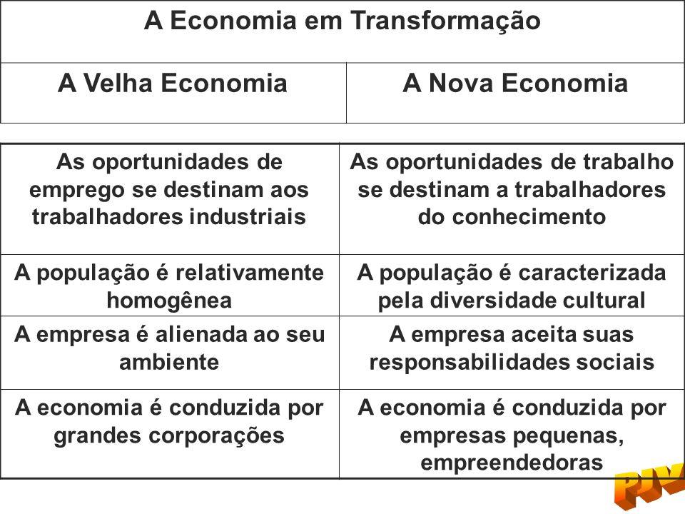 A Economia em Transformação A Velha Economia A Nova Economia
