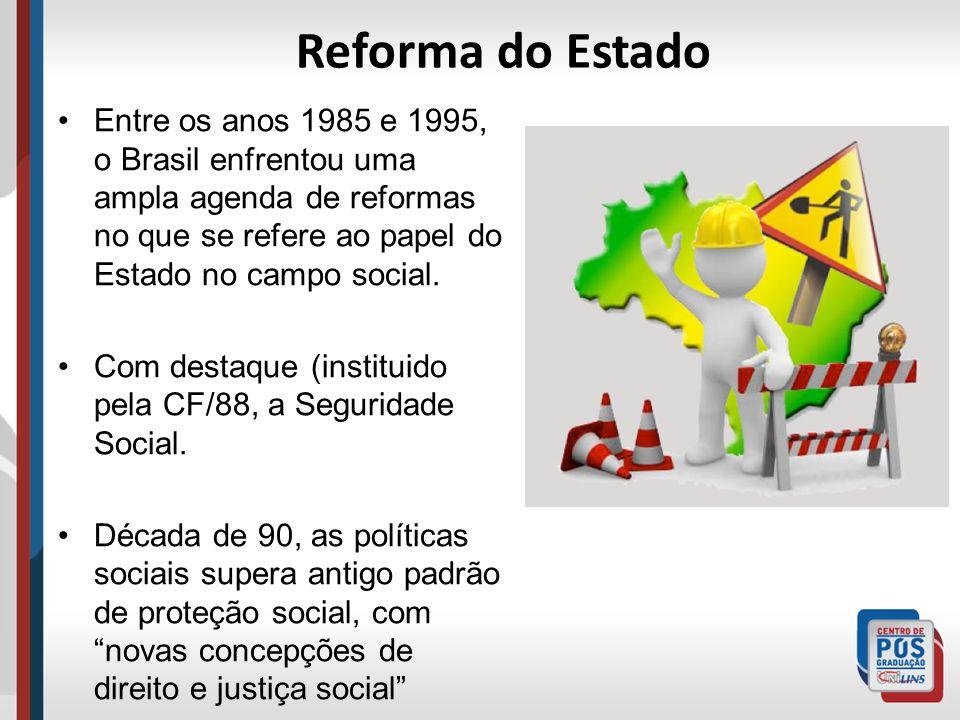 Reforma do Estado Entre os anos 1985 e 1995, o Brasil enfrentou uma ampla agenda de reformas no que se refere ao papel do Estado no campo social.