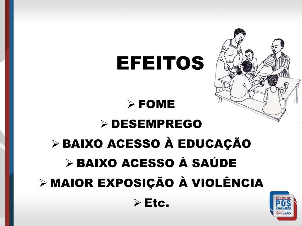 EFEITOS FOME DESEMPREGO BAIXO ACESSO À EDUCAÇÃO BAIXO ACESSO À SAÚDE