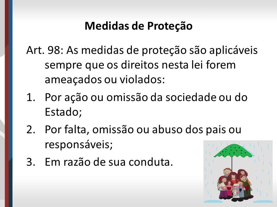 Medidas de Proteção Art. 98: As medidas de proteção são aplicáveis sempre que os direitos nesta lei forem ameaçados ou violados: