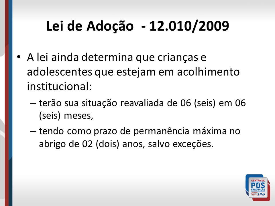 Lei de Adoção - 12.010/2009 A lei ainda determina que crianças e adolescentes que estejam em acolhimento institucional: