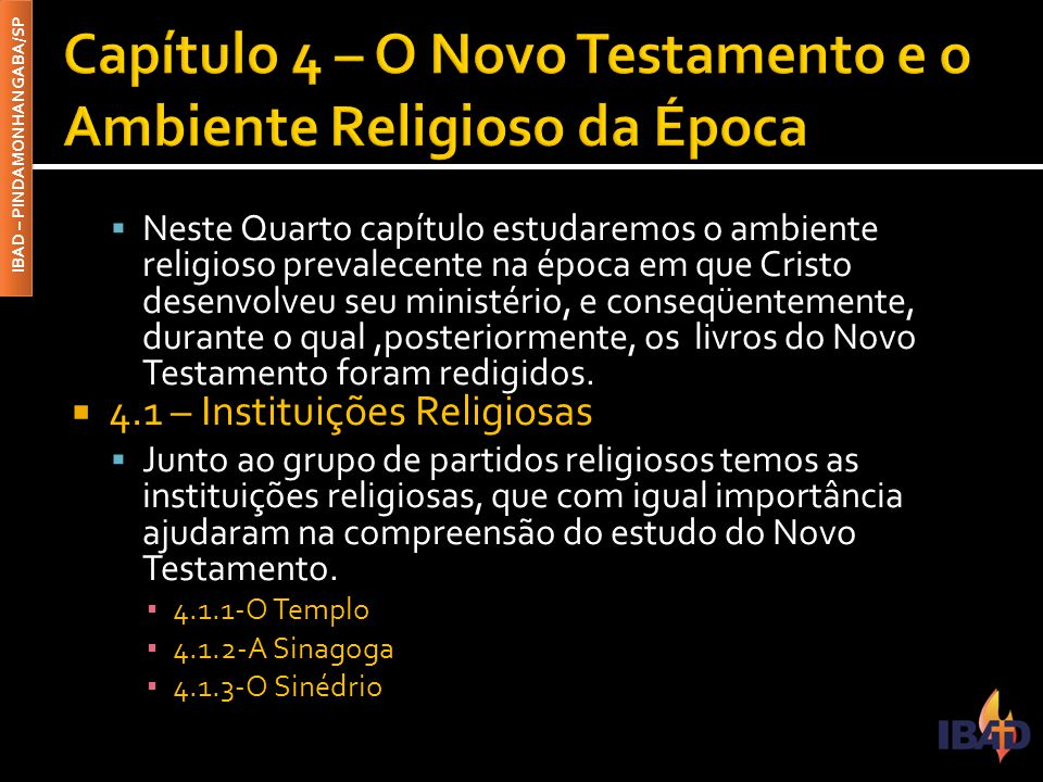 Capítulo 4 – O Novo Testamento e o Ambiente Religioso da Época