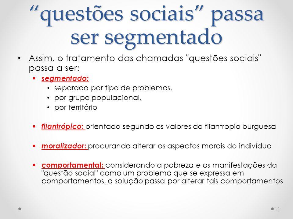 questões sociais passa ser segmentado
