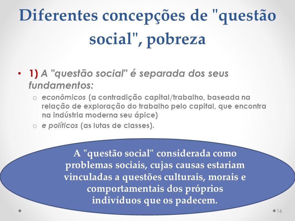 Diferentes concepções de questão social , pobreza