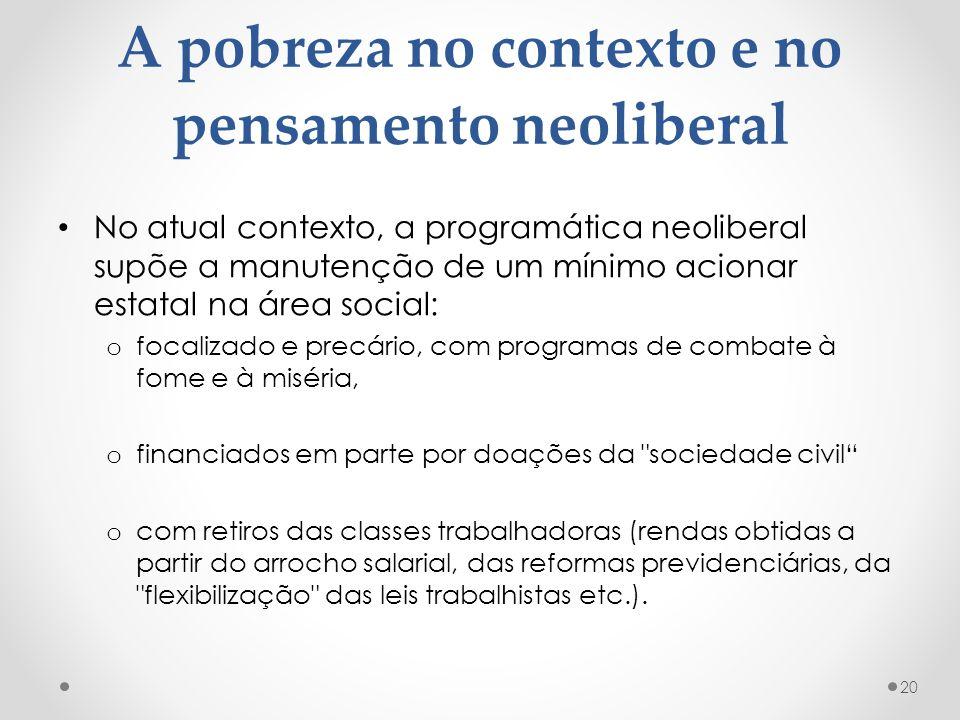 A pobreza no contexto e no pensamento neoliberal