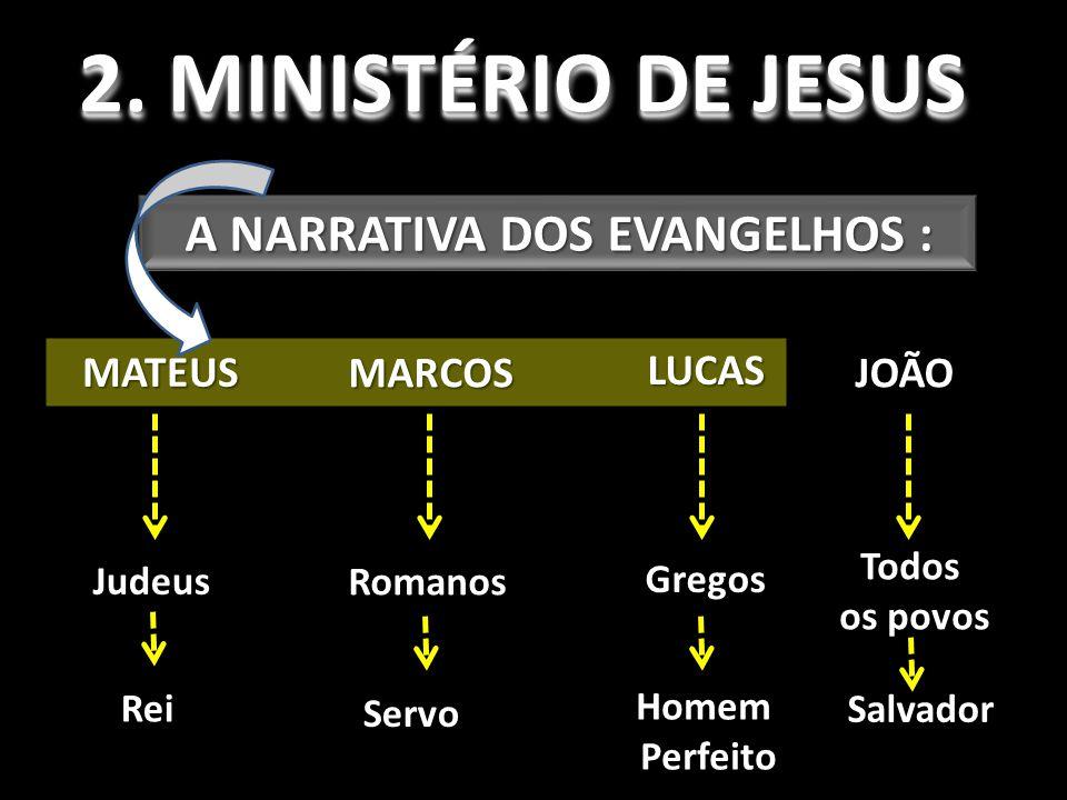 2. MINISTÉRIO DE JESUS A NARRATIVA DOS EVANGELHOS : MATEUS MARCOS