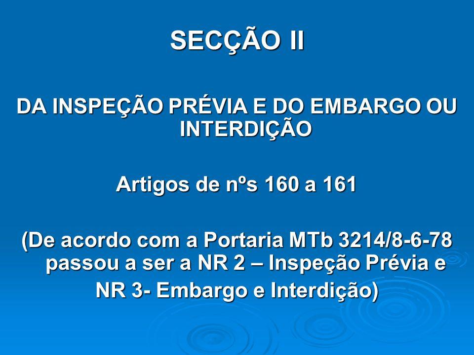 SECÇÃO II DA INSPEÇÃO PRÉVIA E DO EMBARGO OU INTERDIÇÃO