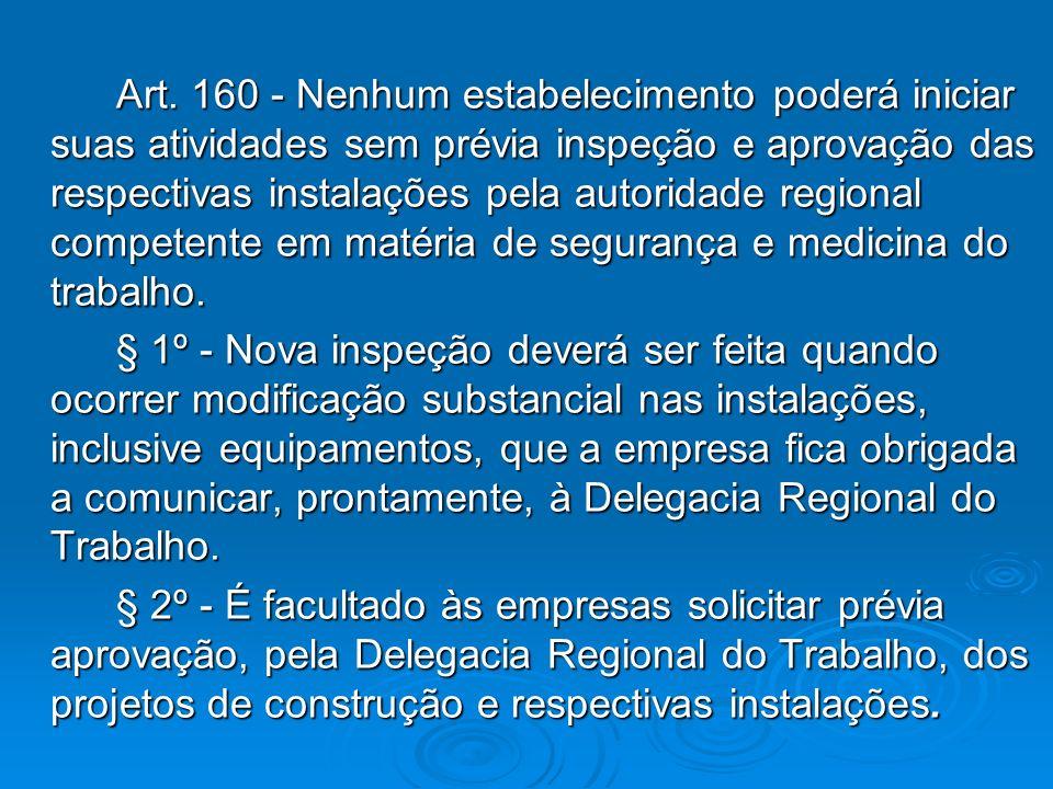 Art. 160 - Nenhum estabelecimento poderá iniciar suas atividades sem prévia inspeção e aprovação das respectivas instalações pela autoridade regional competente em matéria de segurança e medicina do trabalho.