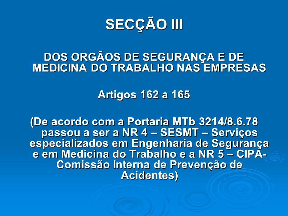 DOS ORGÃOS DE SEGURANÇA E DE MEDICINA DO TRABALHO NAS EMPRESAS