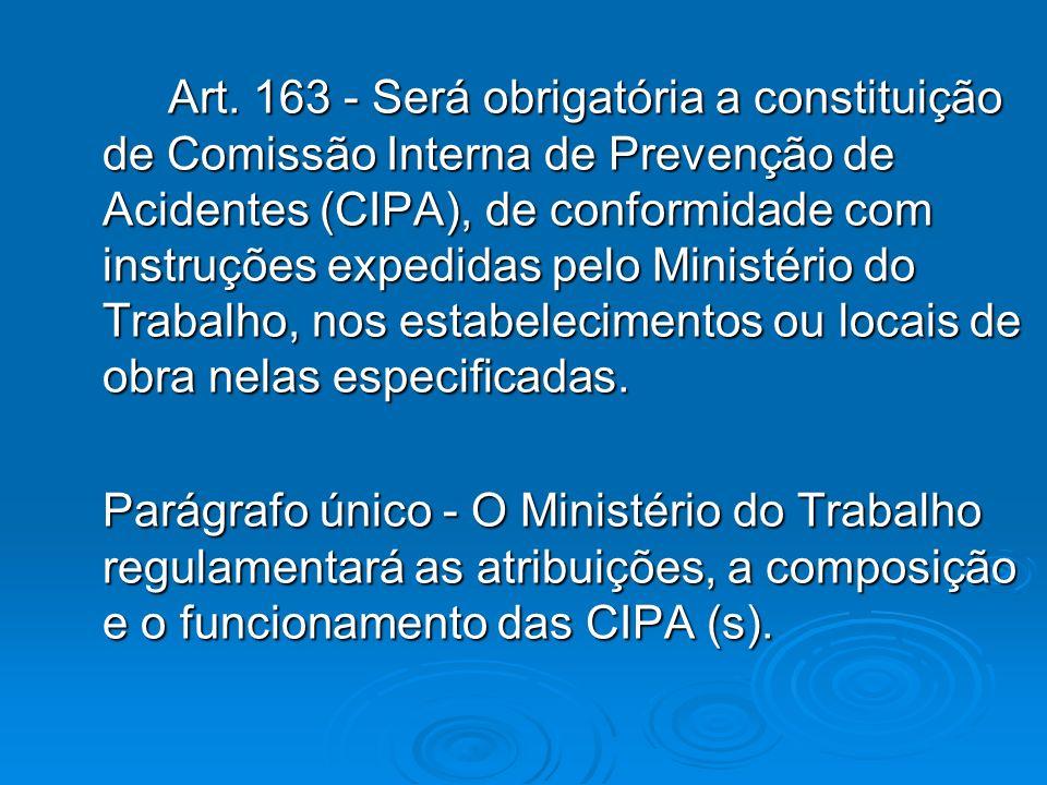 Art. 163 - Será obrigatória a constituição de Comissão Interna de Prevenção de Acidentes (CIPA), de conformidade com instruções expedidas pelo Ministério do Trabalho, nos estabelecimentos ou locais de obra nelas especificadas.