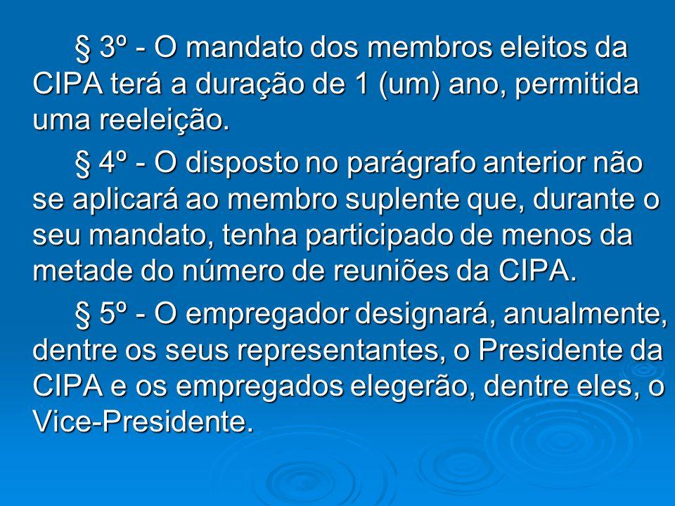 § 3º - O mandato dos membros eleitos da CIPA terá a duração de 1 (um) ano, permitida uma reeleição.