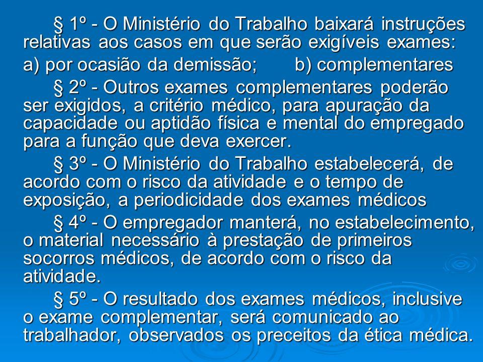 § 1º - O Ministério do Trabalho baixará instruções relativas aos casos em que serão exigíveis exames: