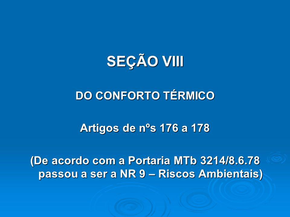 SEÇÃO VIII DO CONFORTO TÉRMICO Artigos de nºs 176 a 178