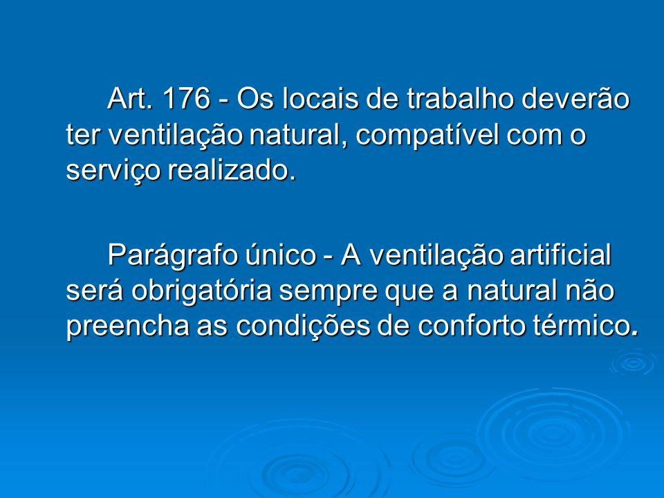 Art. 176 - Os locais de trabalho deverão ter ventilação natural, compatível com o serviço realizado.