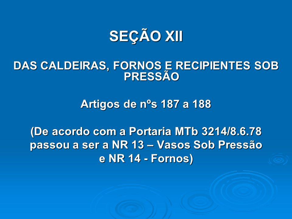 SEÇÃO XII DAS CALDEIRAS, FORNOS E RECIPIENTES SOB PRESSÃO