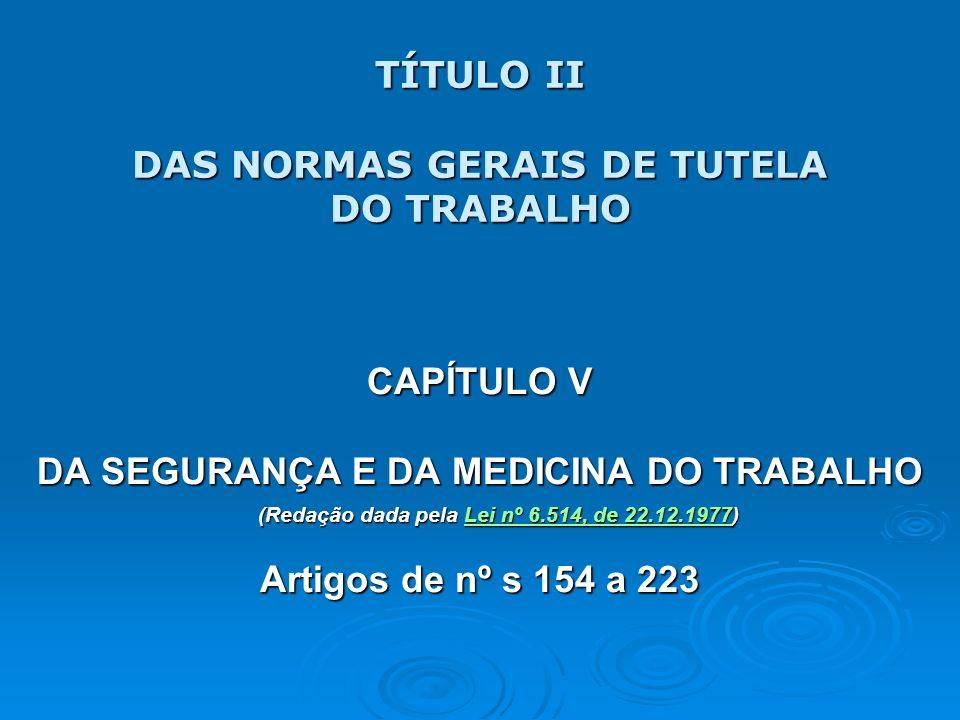 TÍTULO II DAS NORMAS GERAIS DE TUTELA DO TRABALHO