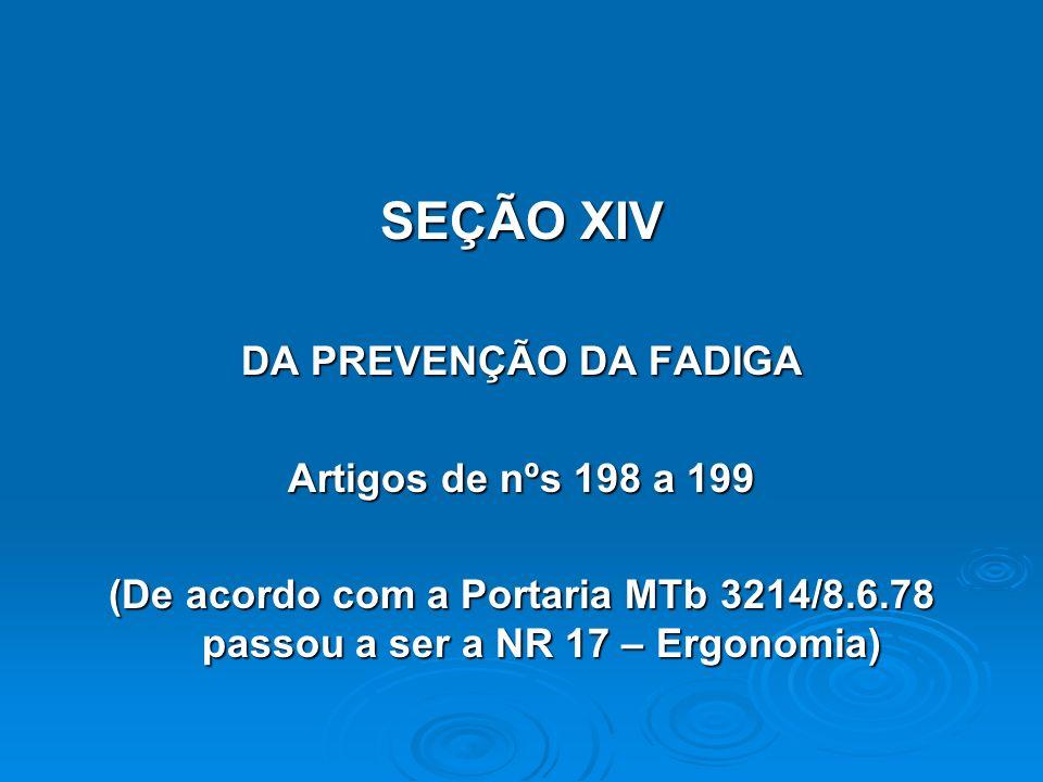 SEÇÃO XIV DA PREVENÇÃO DA FADIGA Artigos de nºs 198 a 199
