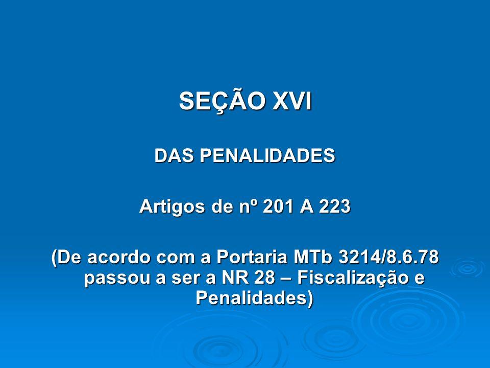SEÇÃO XVI DAS PENALIDADES Artigos de nº 201 A 223