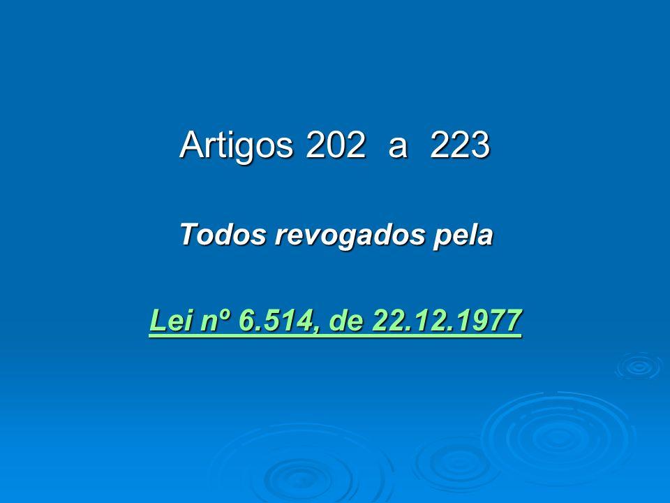 Artigos 202 a 223 Todos revogados pela Lei nº 6.514, de 22.12.1977