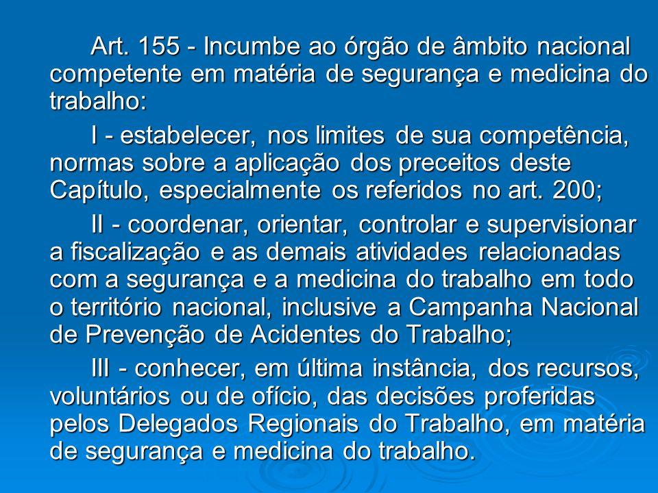 Art. 155 - Incumbe ao órgão de âmbito nacional competente em matéria de segurança e medicina do trabalho: