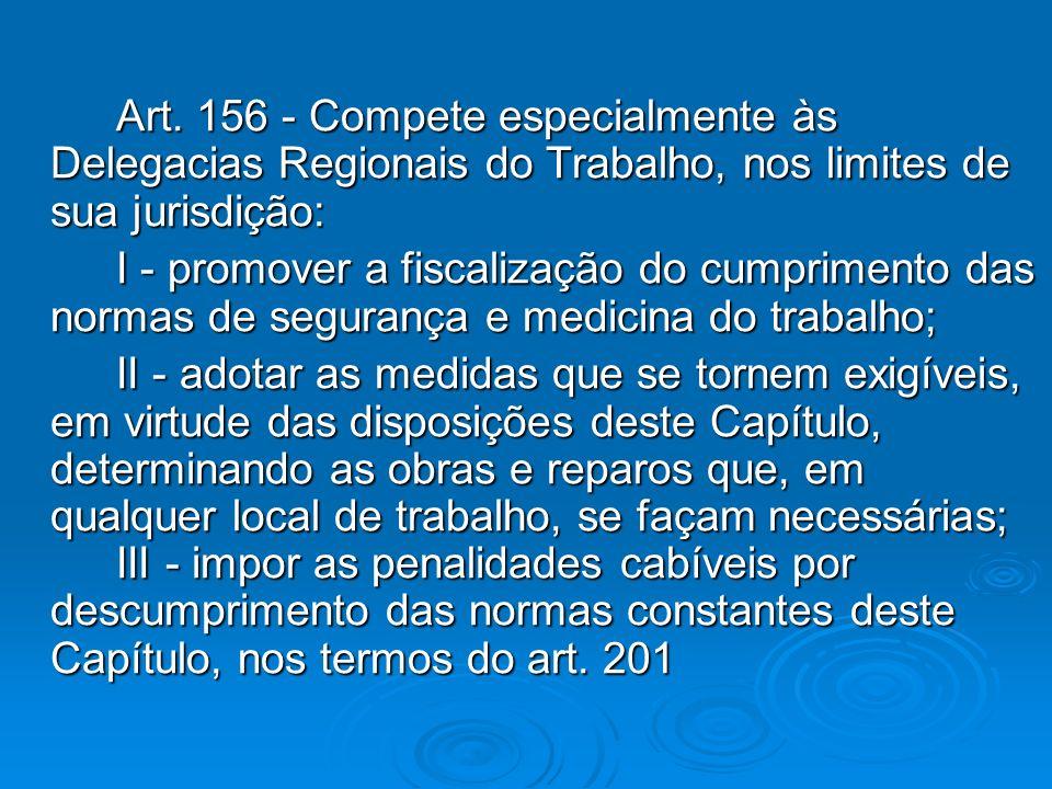 Art. 156 - Compete especialmente às Delegacias Regionais do Trabalho, nos limites de sua jurisdição: