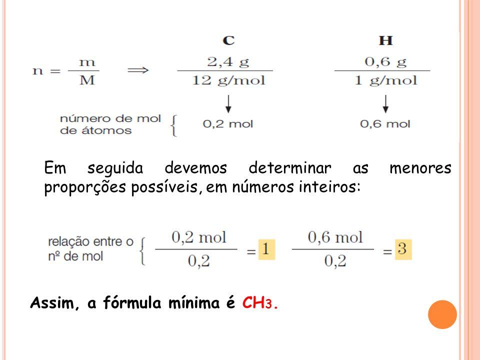 Em seguida devemos determinar as menores proporções possíveis, em números inteiros: