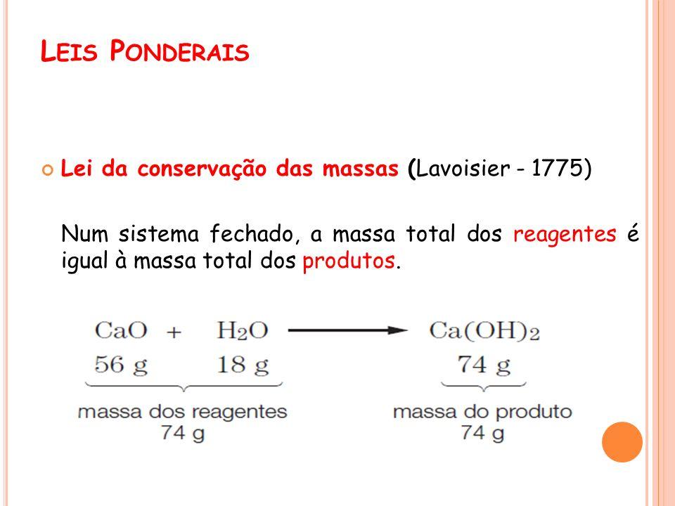 Leis Ponderais Lei da conservação das massas (Lavoisier - 1775)