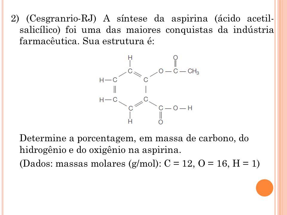 2) (Cesgranrio-RJ) A síntese da aspirina (ácido acetil- salicílico) foi uma das maiores conquistas da indústria farmacêutica.