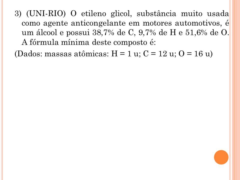3) (UNI-RIO) O etileno glicol, substância muito usada como agente anticongelante em motores automotivos, é um álcool e possui 38,7% de C, 9,7% de H e 51,6% de O.