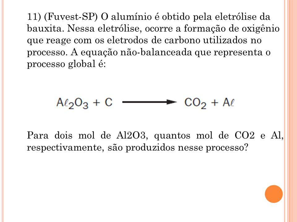 11) (Fuvest-SP) O alumínio é obtido pela eletrólise da bauxita