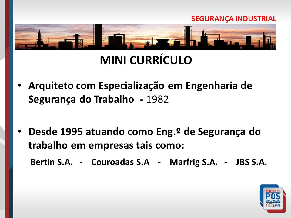 SEGURANÇA INDUSTRIALMINI CURRÍCULO. Arquiteto com Especialização em Engenharia de Segurança do Trabalho - 1982.