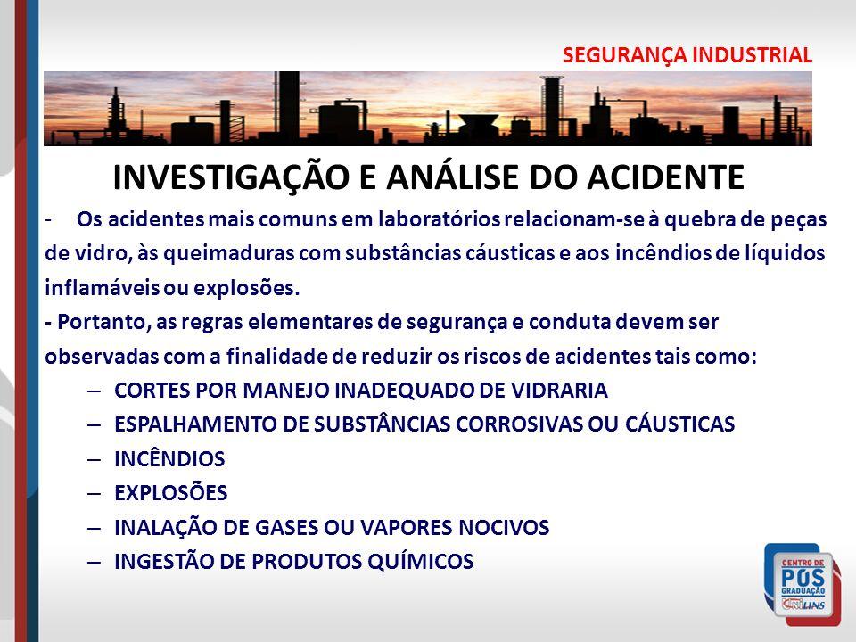 INVESTIGAÇÃO E ANÁLISE DO ACIDENTE