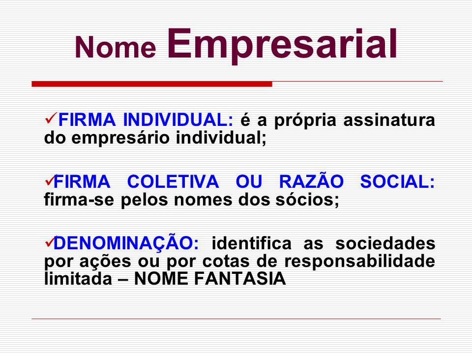Nome Empresarial FIRMA INDIVIDUAL: é a própria assinatura do empresário individual; FIRMA COLETIVA OU RAZÃO SOCIAL: firma-se pelos nomes dos sócios;