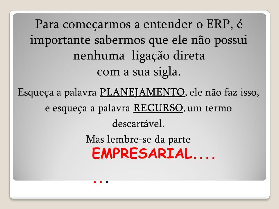 Para começarmos a entender o ERP, é importante sabermos que ele não possui nenhuma ligação direta