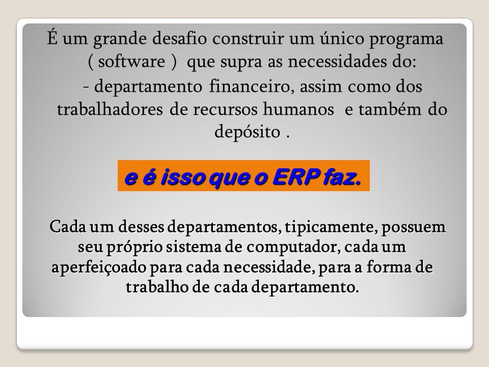É um grande desafio construir um único programa ( software ) que supra as necessidades do: