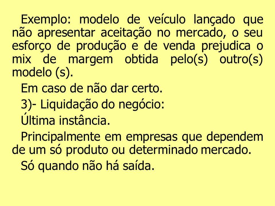 Exemplo: modelo de veículo lançado que não apresentar aceitação no mercado, o seu esforço de produção e de venda prejudica o mix de margem obtida pelo(s) outro(s) modelo (s).