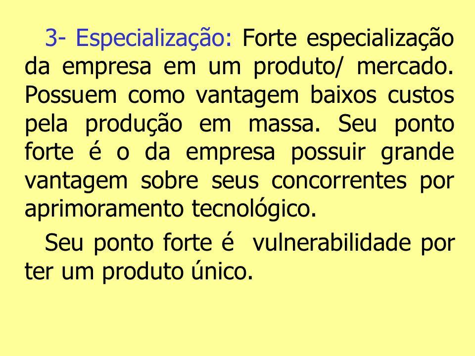 3- Especialização: Forte especialização da empresa em um produto/ mercado. Possuem como vantagem baixos custos pela produção em massa. Seu ponto forte é o da empresa possuir grande vantagem sobre seus concorrentes por aprimoramento tecnológico.