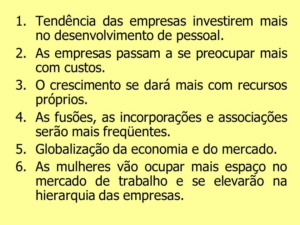 Tendência das empresas investirem mais no desenvolvimento de pessoal.