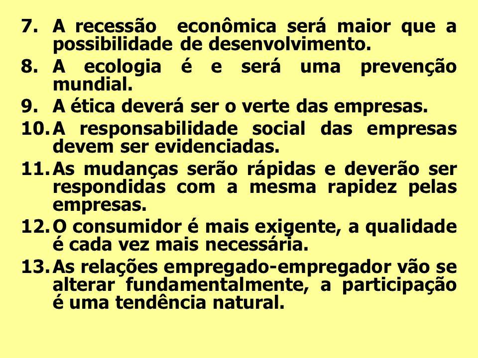 A recessão econômica será maior que a possibilidade de desenvolvimento.