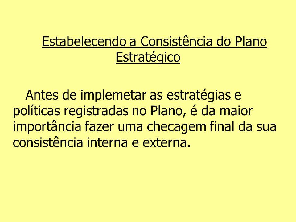 Estabelecendo a Consistência do Plano Estratégico