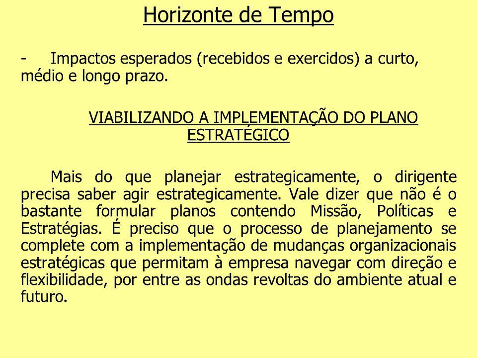 VIABILIZANDO A IMPLEMENTAÇÃO DO PLANO ESTRATÉGICO