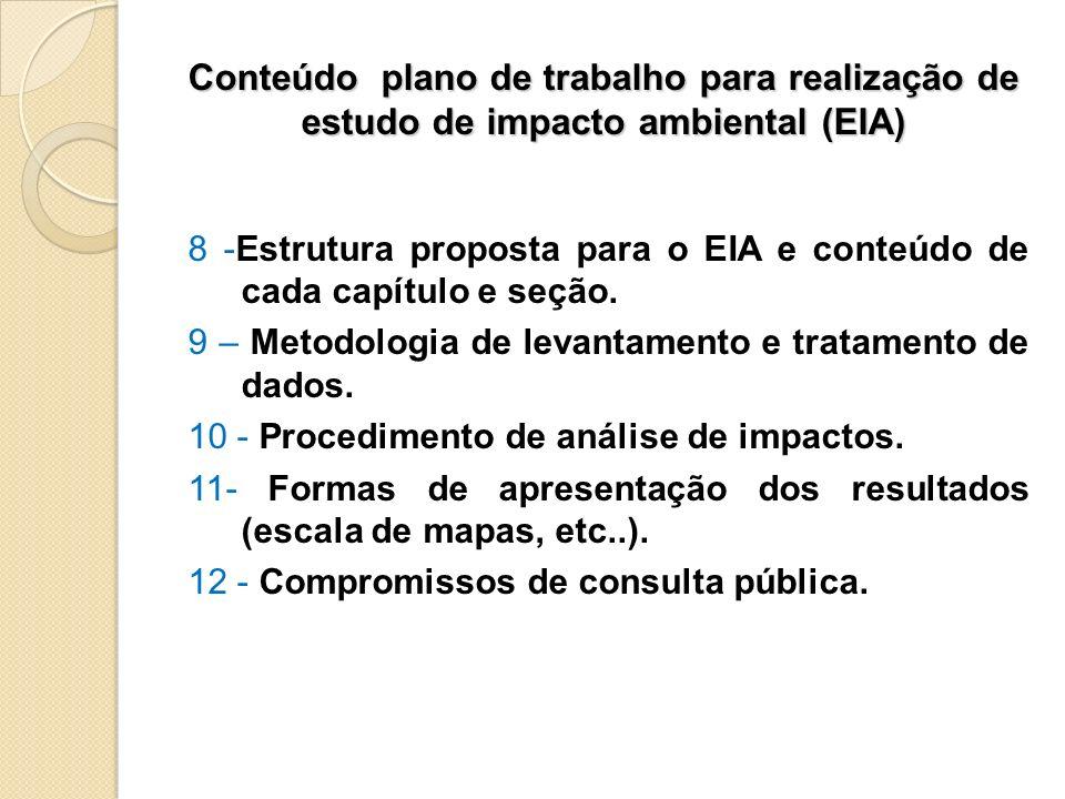Conteúdo plano de trabalho para realização de estudo de impacto ambiental (EIA)
