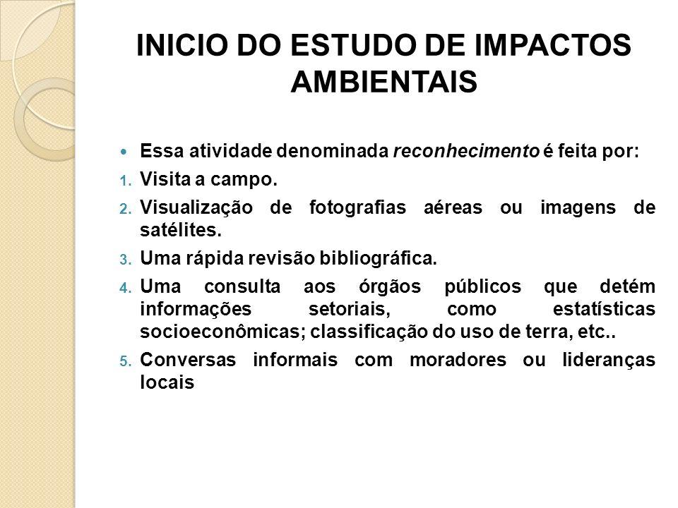 INICIO DO ESTUDO DE IMPACTOS AMBIENTAIS