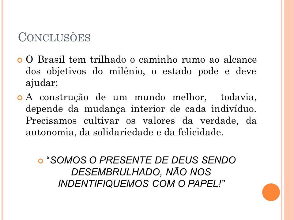 Conclusões O Brasil tem trilhado o caminho rumo ao alcance dos objetivos do milênio, o estado pode e deve ajudar;