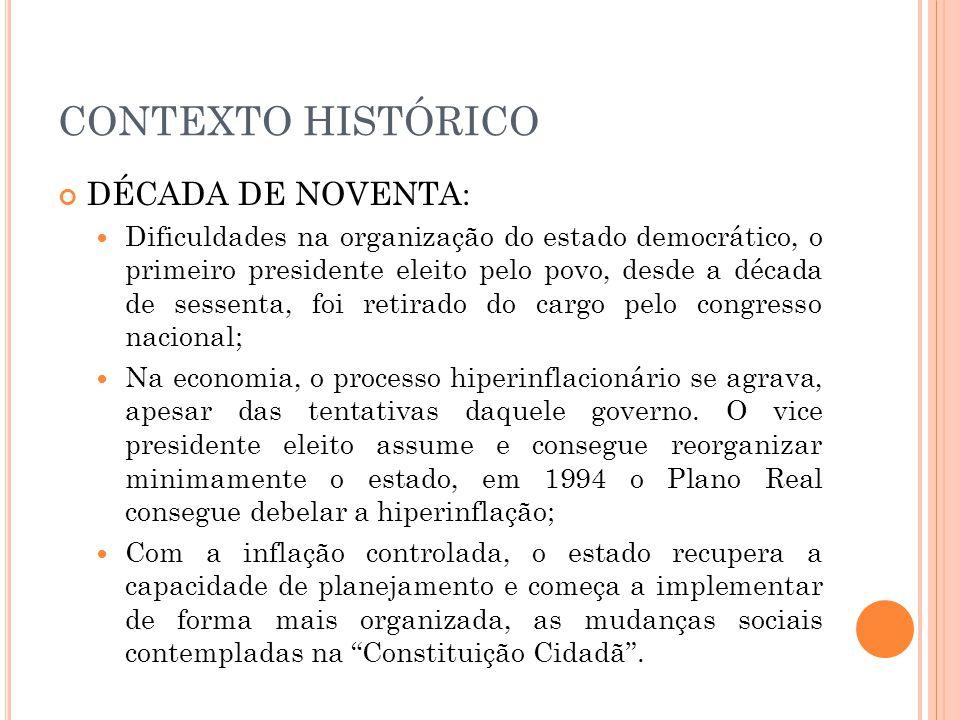 CONTEXTO HISTÓRICO DÉCADA DE NOVENTA: