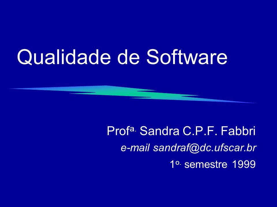 Qualidade de Software Profa. Sandra C.P.F. Fabbri